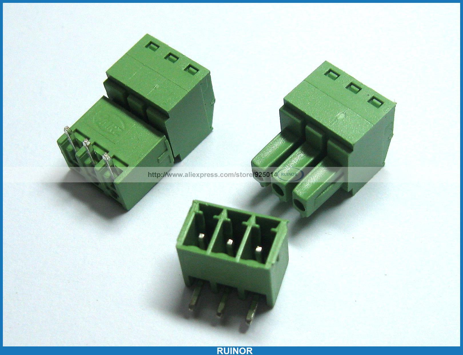250 Pcs Screw Terminal Block Connector 3.5mm Angle 3 Pin Green Pluggable Type 30 pcs screw terminal block connector 3 81mm 12 pin green pluggable type