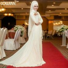 Fashionable Lace Appliques Hijab Wedding Dress with Sash Long Sleeves Musluman Bridal Gowns Gelinlik Saudi Arabic Abaya Kaftan