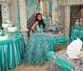 Novo azul de gelo 2017 vestidos quinceanera vestido de baile sparkly sweet 16 Anos Da Princesa Vestidos Para crianças de 15 Anos Vestidos De 15 Anos
