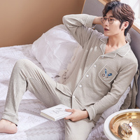 Autumn Winter Cotton Men's Pyjamas Couple Pajamas Set Casual Sleepwear Mujer Pyjamas Nightgowns Pijamas Plus 3XL Home Clothing