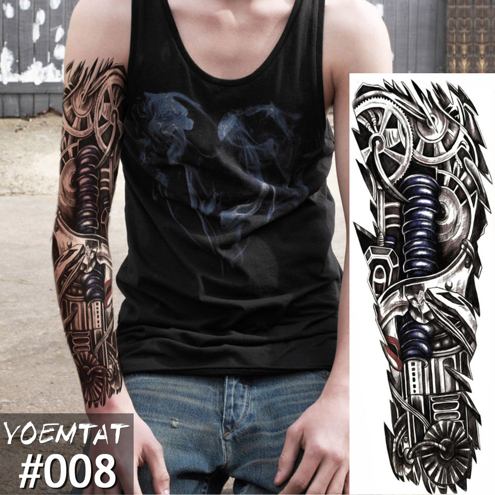 New 1 Piece Temporary Tattoo Sticker Mechanical Design Full Flower Tattoo With Arm Body Art Big Large Fake Tattoo Sticker