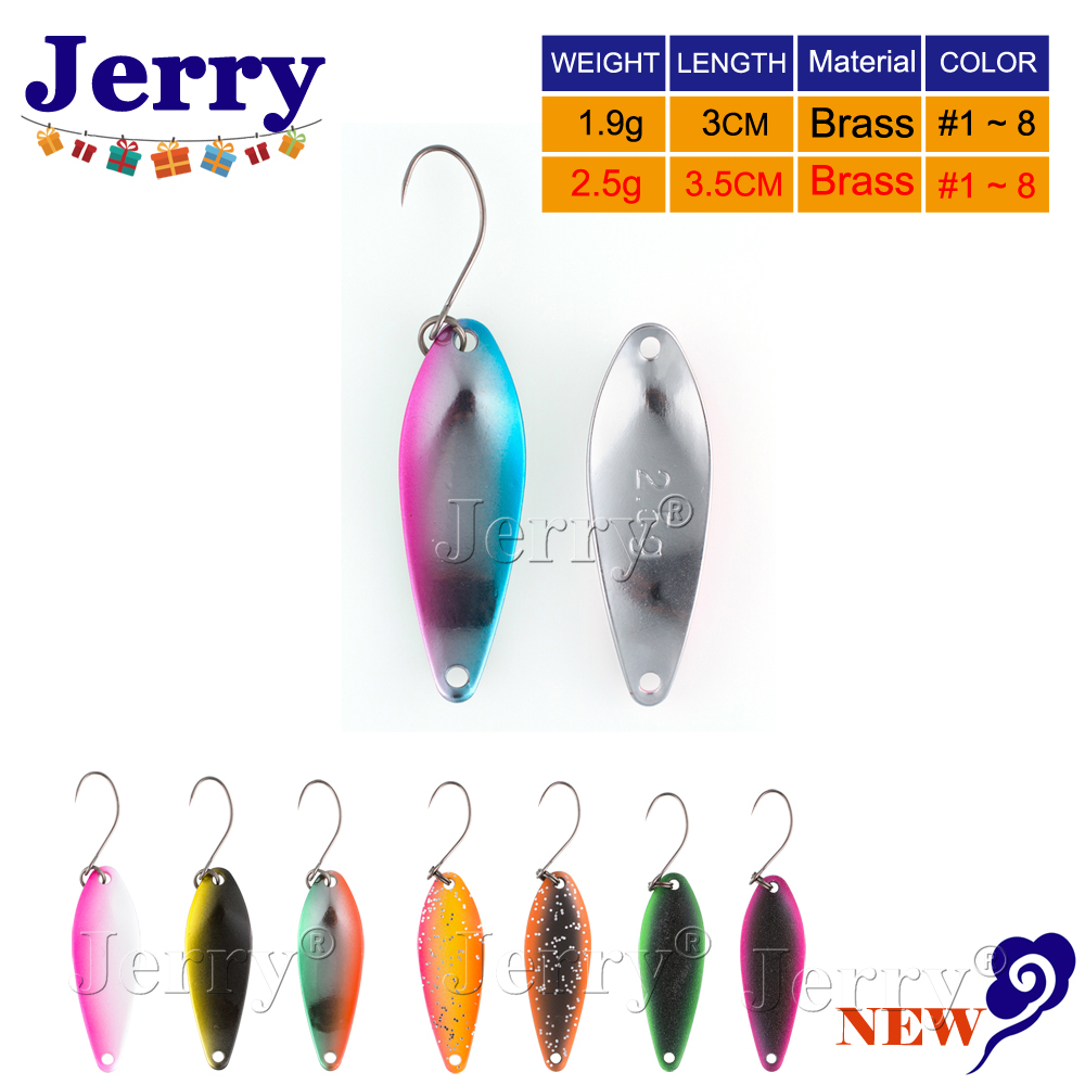 Джерри 1.9 г 2.5 г латунь развевающиеся Рыбалка ложки форель приманки японский форель ложка приманки блесны