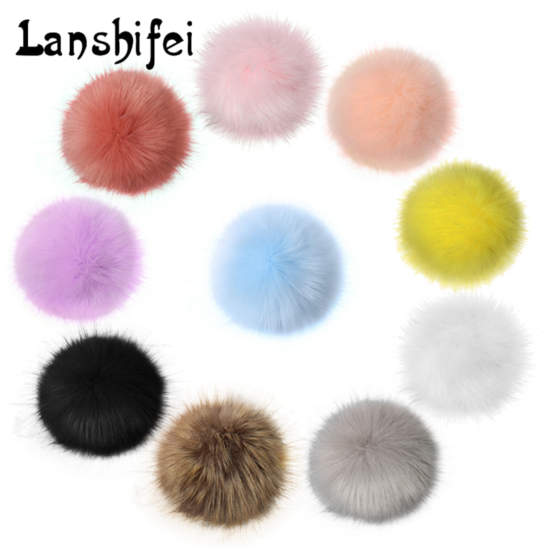 2017 New 10 Cm Multi-color Fur Ball 10 Colorful Fur Winter Pom Poms For Shoe Bag Hat Fur Cap Accessories