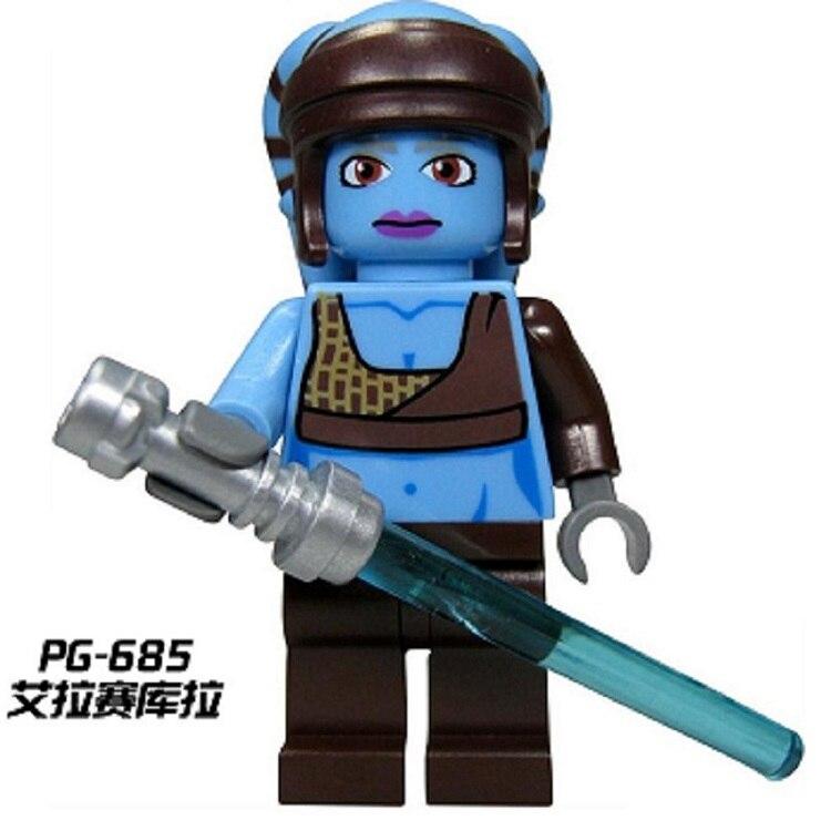 50Pcs PG685 Star Wars Aayla Secura Lightsaber SW284 8098 Clone Turbo Tank Building Blocks Bricks For Children Gift Toys PG8034