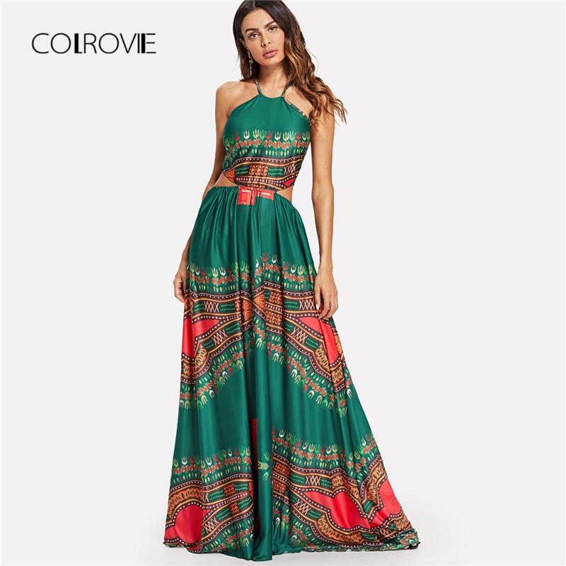 COLROVIE Green Backless High Waist Maxi Dress