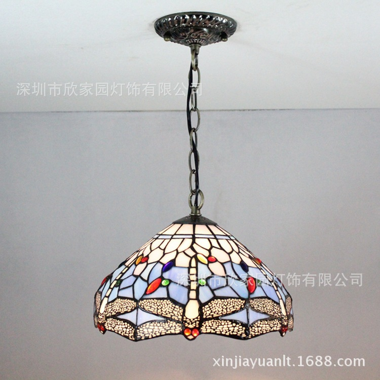 TIFFANY BLUE COUNTRY European restaurant bedroom living room lights lamp Cafe balcony porch lamp Mediterranean Stained glass 12 inch simple european style modern restaurant droplight tiffany glass lighting mahjong table mediterranean balcony lamp