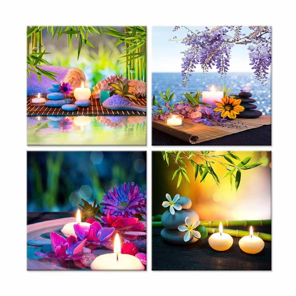 Purple Orchid Flower Bamboo Stone 4 Pieces Art Work Canvas Prints Zen Art Wall Decor Spa  Massage  Treatment  Painting