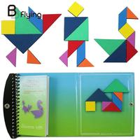 120 Puzzles Magnetic Mathematic Tangram Toys Children Kids Challenge IQ Educational Learning Game Magic Book