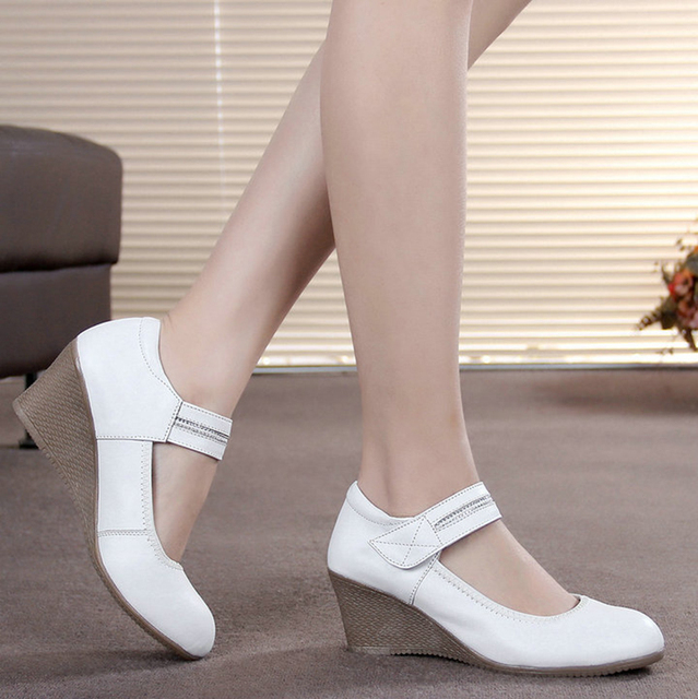 Size 34 2016 Work Mary Jane Single Dress Womens Nurse Genuine Leather Shoes Women Wedges Platforms High Heels Hook White Pumps