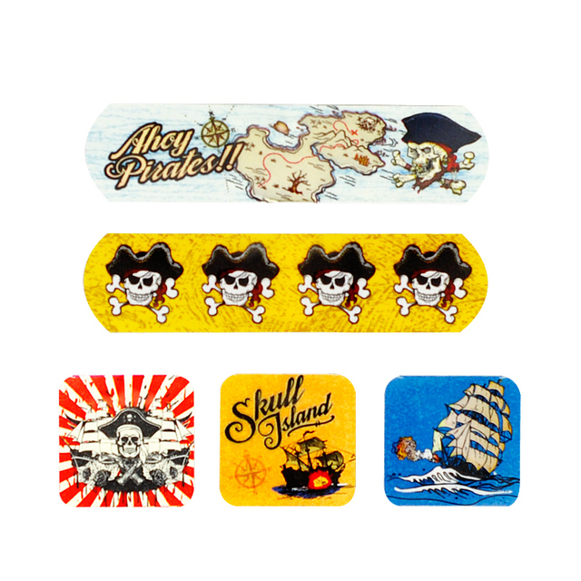 60 PCs/3Boxes Assorted Waterproof Breathable Pirate Cartoon Adhesive Wound Bandage Hemostasis First aid Band aid
