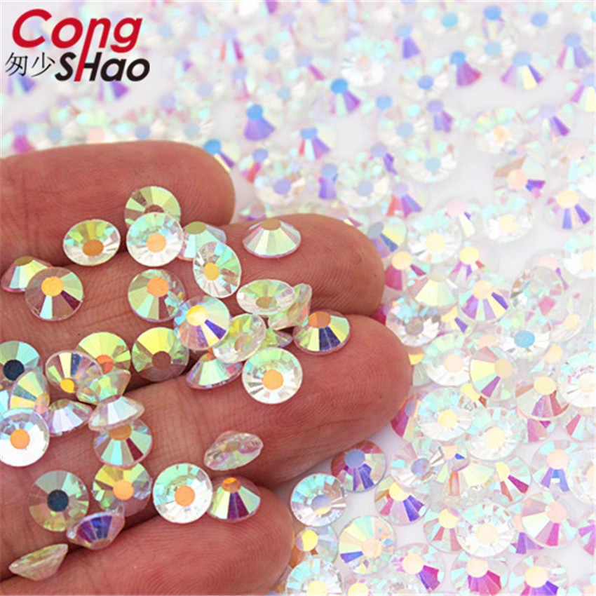 SS3-SS30 Hoge Kwaliteit Transparante Steen Glas Gem Clear Ab 3D Nail Rhinestones 288 Pcs, 1440Pcs Flat Terug Niet Hotfix Crystal WC991