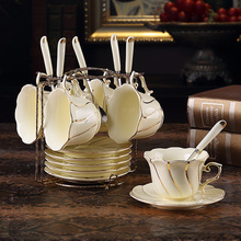 Europe Top-grade coffee cup saucer Set British ceramic golden rim tea cups Afternoon party sugar pot bowl Teapot Wedding Gif