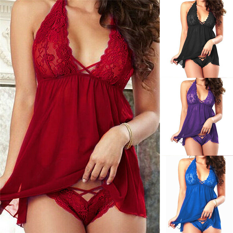 Backless Sexy Lingerie Lace Halter Sexy Underwear S-2XL V-neck Lingerie Sexy Hot Erotic Babydoll Women Plus Size Costumes XXL XL