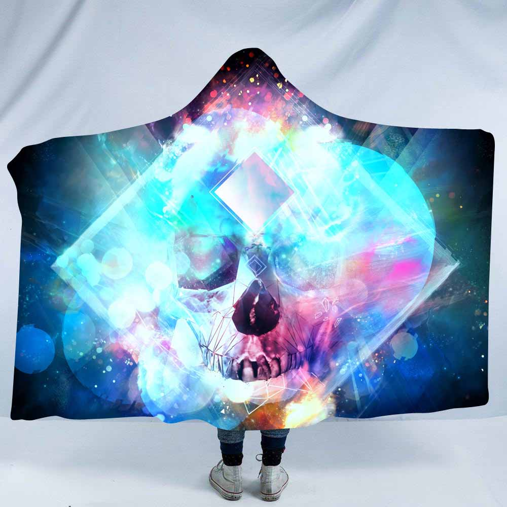 Home Textile The Best Lannidaa 3d Printed Psychedelic Sugar Skull Hoodie Blanket Portable Home Outdoor Travel Hooded Blankets Beds Sofa Throw Blanket Attractive Fashion Bedding