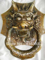 refined big rare old copper foo dog door knocker