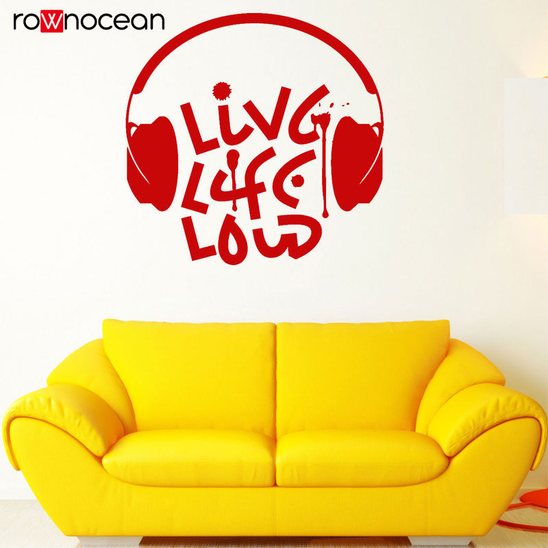 Live Music Loud Musical Quote Headphones Vinyl Decals Art Home Decor For Teens Room Sticker Interior Removable Wallpaper 3206 in Wall Stickers from Home Garden