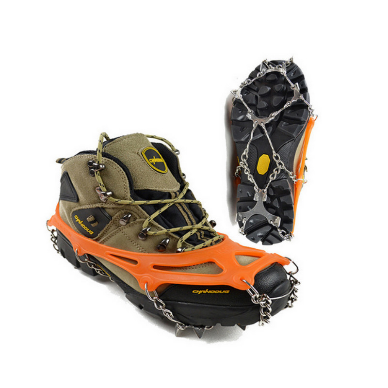 Silicon Universal Ice No Slip Snow Shoe Spikes Grips Cleats Crampons Winter Climbing No Slip Shoes Cover round snow ice climbing mountaineering shoes crampons orange pair