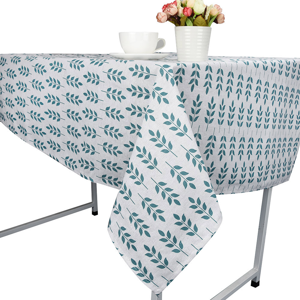 Country Style Decorative Tablecloth Leaves Print Cotton Linen Tablecloth Country Dining Table Cover For Kitchen Home Decor #5T