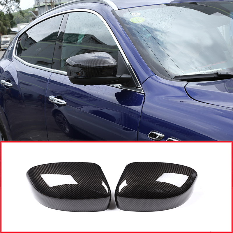 2 x Carbon Fiber Style Car Side Rearview Mirror Cover Cap Trim Accessories For Maserati Levante