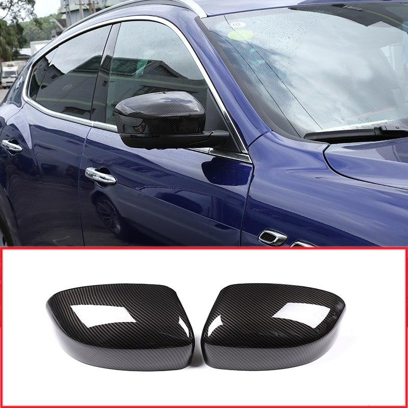 2 x Carbon Fiber Style Car Side Rearview Mirror Cover Cap Trim Accessories For Maserati Levante 2016 2017 2018|Interior Mouldings| |  - title=