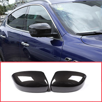 2 x Carbon Fiber Style Car Side Rearview Mirror Cover Cap Trim Accessories For Maserati Levante 2016 2017 2018
