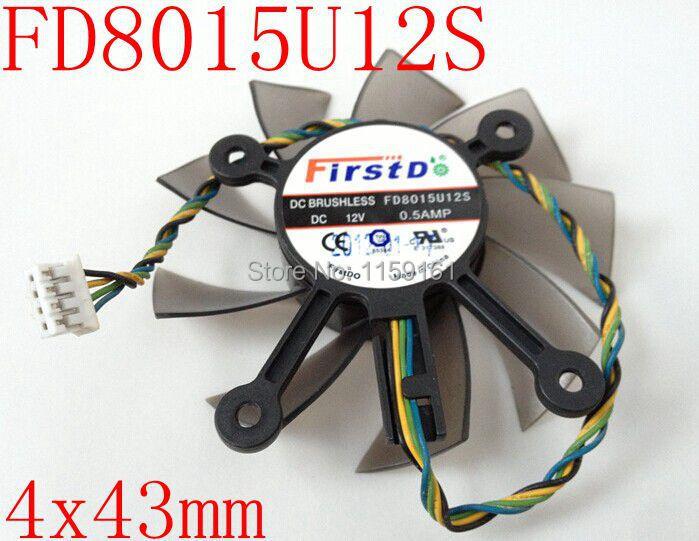 Бесплатная доставка FD8015U12S 4-контактный 12 В 0.5A 75 мм 4X43 мм для ASUS HD6770 Вентилятор видеокарты