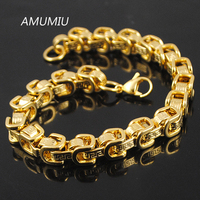 Jweuluve New Arrival Byzantine Bracelet 18 20 22 24cm Greek Key Stainless Steel Hand Chain Link