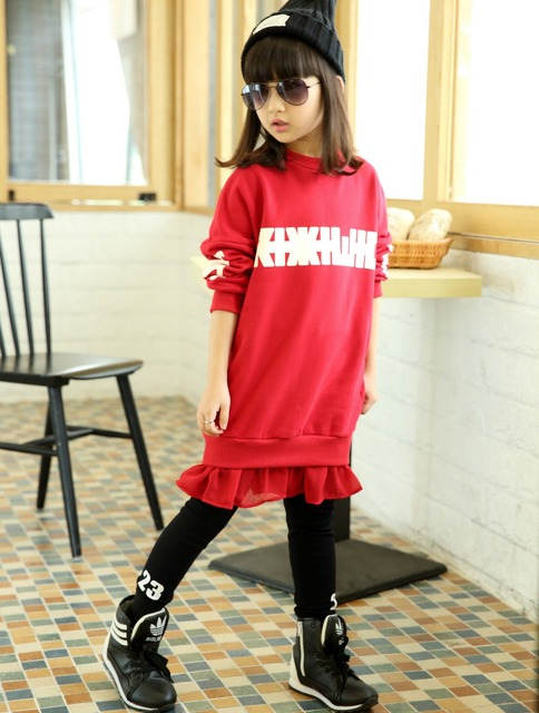 5c785792b Teenage Girls Hoodie Dress Long Sleeve Girls Pullover Hoodie 2017 Fall New  Kids Girls Autumn Dresses