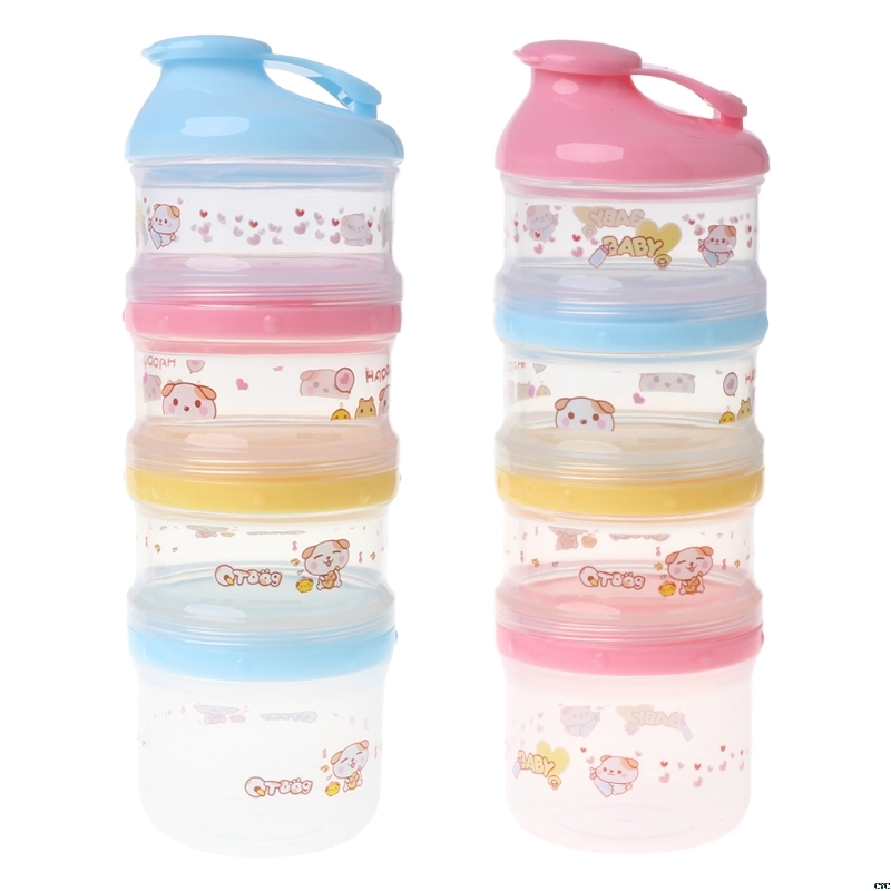 4 Layers Baby Milk Powder Container Portable Formula Food Storage Cartoon Makeup Box