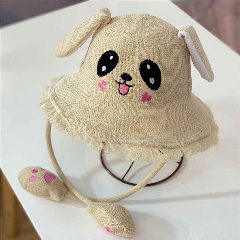 Summer Straw Sunhat Toddler Baby Kids Boys Girls Cartoon Animal