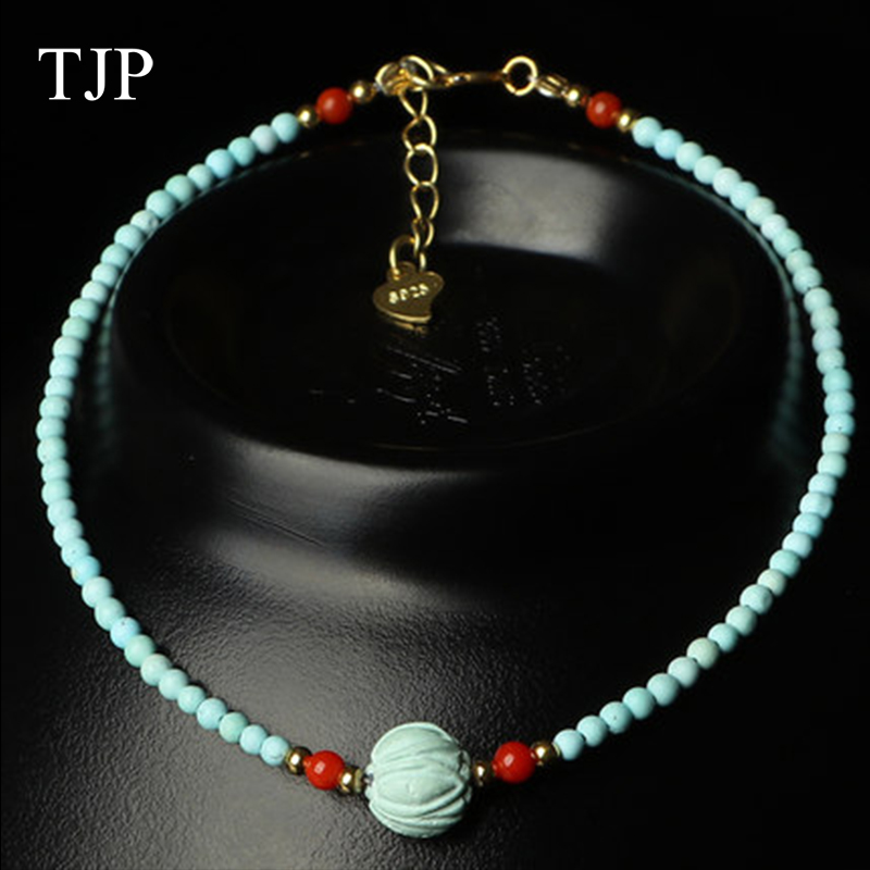TJP Boutique Jewelry Turquoise Pendant fine Natural stone Jade necklace Free shippingTJP Boutique Jewelry Turquoise Pendant fine Natural stone Jade necklace Free shipping