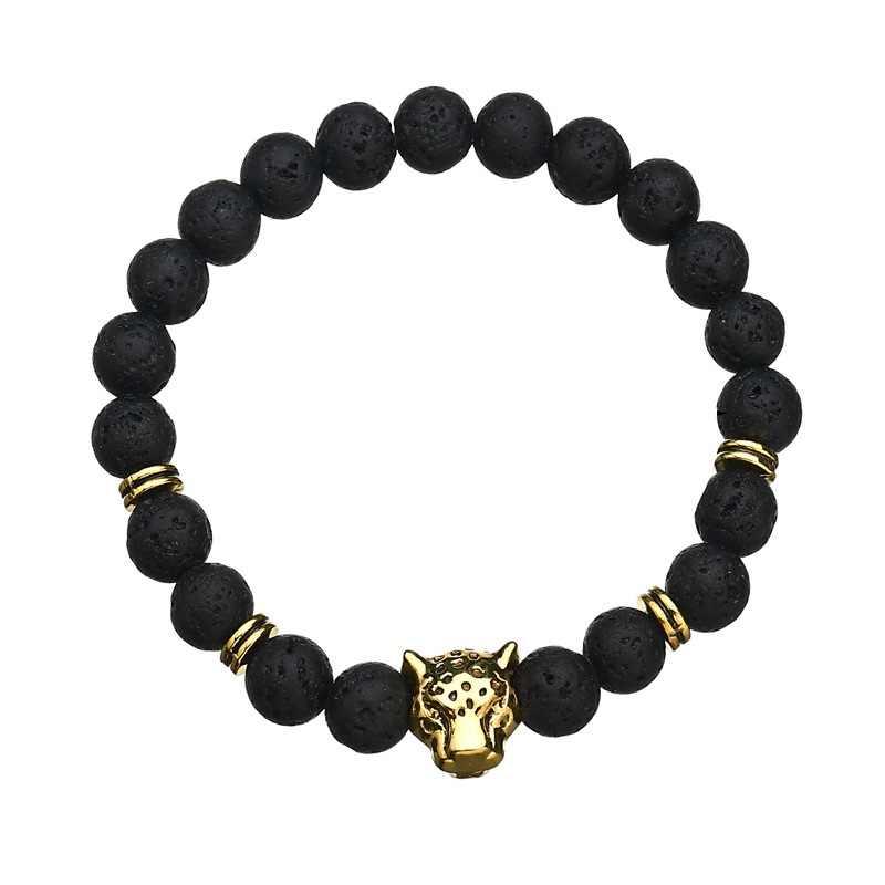 2019 חדש חמה אופנה רחוב לירות בעבודת יד חרוזים שרשרת האריה נמר ראש צבעוני לבה חרוזים סגולה צמידי נשים גברים