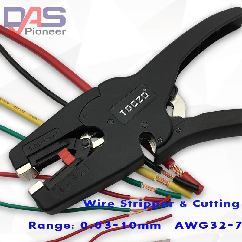 Rango de pelador de alambre de aislamiento autoajustable 0,03-10mm2 con rango de corte de alambre de alta calidad 0,03-10mm punta plana