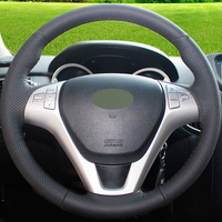 Hand stitched Black Genuine Leather Car Steering Wheel Cover for Hyundai Rohens Coupe 2009