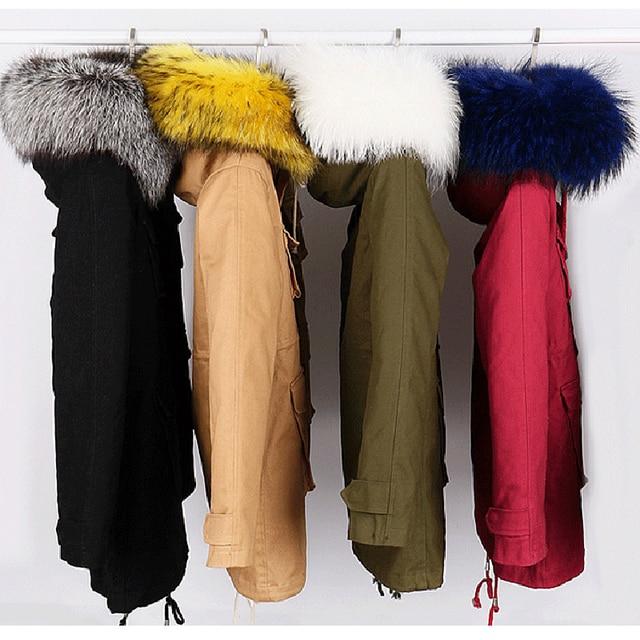 2015 Korean style coats women fashion large real raccoon fur collar jacket thick warm winter parka jacket female outerwear DX573