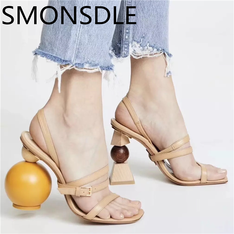 2018 New Fashion Summer Shoes Woman Strange Heel Sandals Women Open Toe Sexy Hollow Slip On Designer Women Party Sandals Shoes new 2017 summer flat sandals sexy pointed toe designer side buckle sandals woman shoes tide brand woman sandals hollow flats