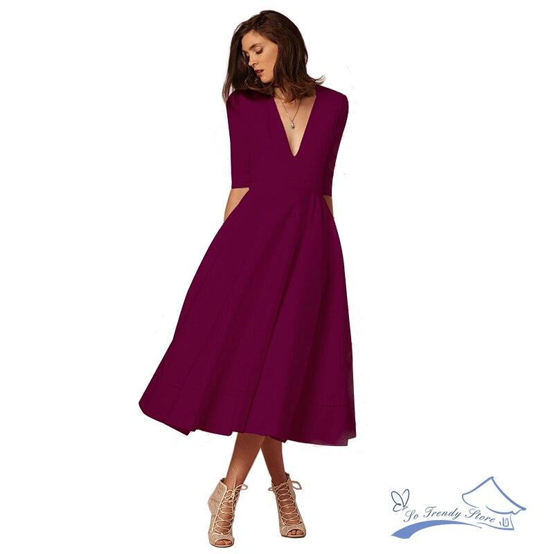 2018 Nueva gama alta de moda Otoño e Invierno sexy V profunda manga larga vestido siete color sólido tamaño PLU BIG SWING vestido estilo retro
