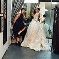 Vintage magnífico Vestido De Novia Musulmana 2016 V Profundo Cuello Largo manga de Encaje Vestidos de Novia Vestidos De Noiva Balón vestido de Boda vestidos