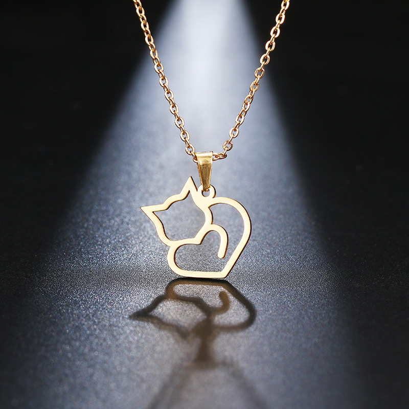 DOTIFI Stainless Steel Necklace For Women Lover's Gold And Silver Color Cat Exquisite Pendant Necklace Engagement Jewelry 2