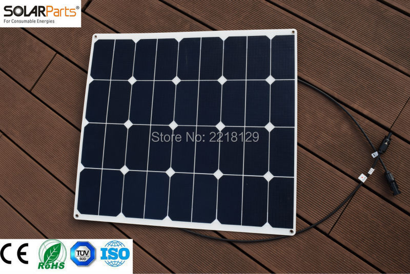 Solarparts 1x 60W ETFE film flexible solar panel 12V system cell marine yacht boat RV solar module battery cheaper factory sales 50w 12v semi flexible monocrystalline silicon solar panel solar battery power generater for battery rv car boat aircraft tourism