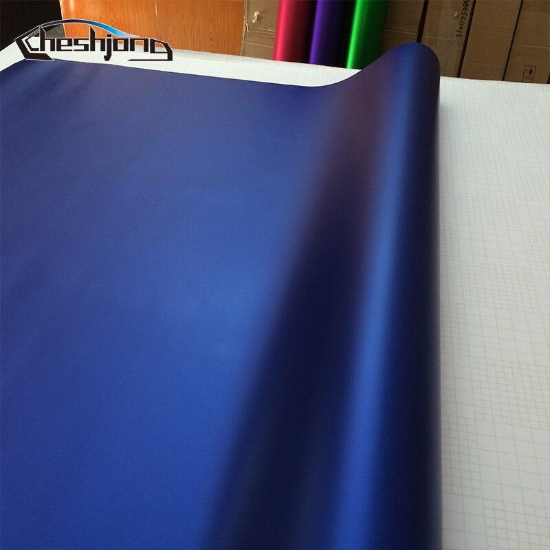 Cool Bleu Profond Mat Chrome Enveloppe de Voiture de Vinyle Feuille Film Pour Voiture Emballage Mat Chrome Bleu Vinyle 1.52*20 m