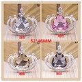 Tamanho grande Moda de Cristal Botão de Strass Coroa Real Remendo Adesivo Liga Tom de Prata Descobertas Jóias DIy Craft para a caixa do telefone