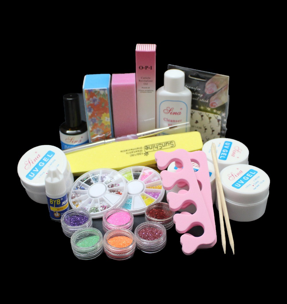 Diy acrylic glitter powder glue file nail art uv gel tips for Acrylic nail decoration supplies