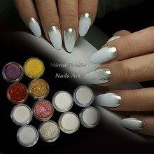Металлическое зеркало блеск для ногтей пыль голографический Маникюр блестящий порошок пигмент для украшения ногтей маникюр с полировкой CH#01-12