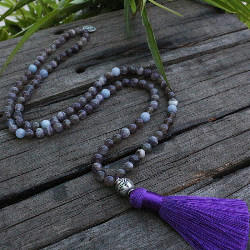 8mm Amethyst And Aquamarine Mala Beads Necklace, Buddha Pendant Japamala, 108 Bead Mala, Mala Jewelry, Yoga Lovers Jewelry Refreshment