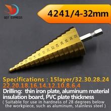 Hexagonal titanium paso cono broca agujero de corte 4-32mm hss 4241 para la hoja de metal