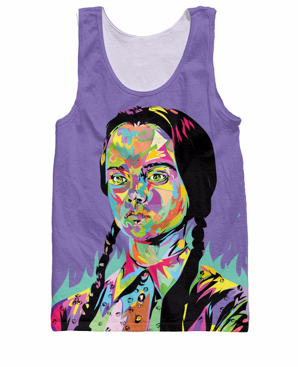 Death And Rock Sick Wednesday Addams Technodrome1 Tank Top Hip Hop Tops Vest Streetwear Summer Style Tee Jersey For Women Men