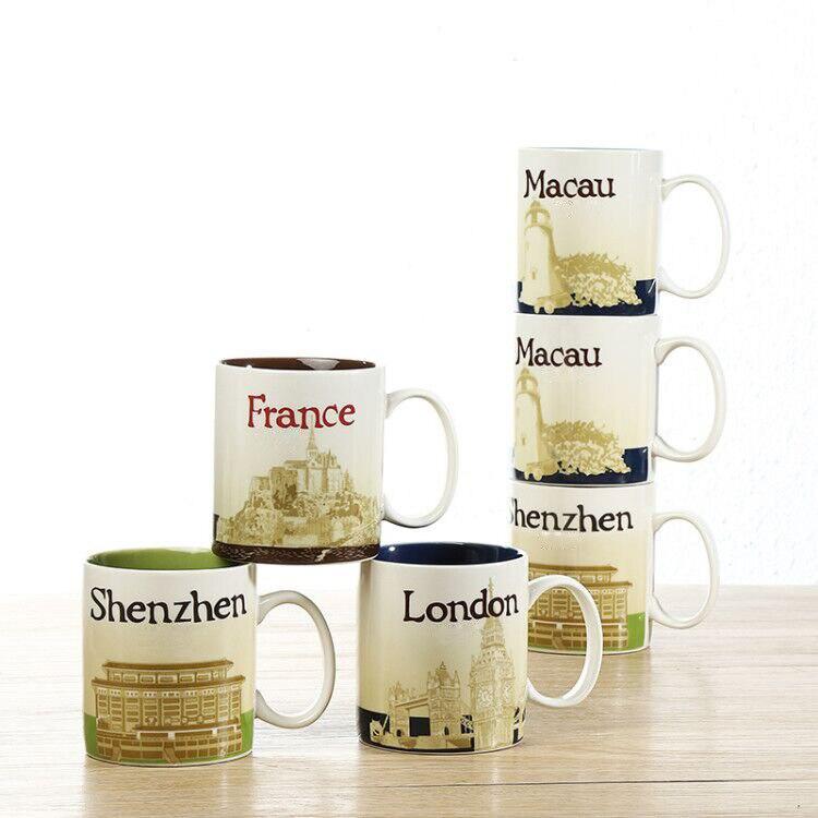 Hot sale wholesale ceramic custom city mugs Australia Chicago England New Zealand Madrid Dubai Brasil Macau cup free shipping