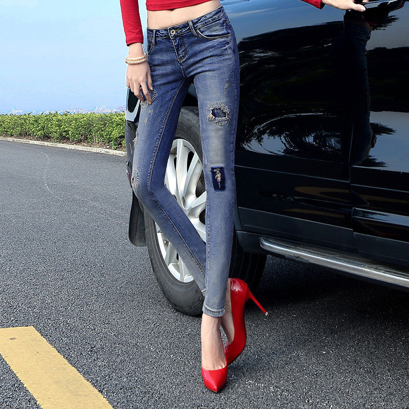 Jeans Woman 2016 Summer Fashion Gradual Change Patch Personality ankle lenth Bound Feet Pants Spring And