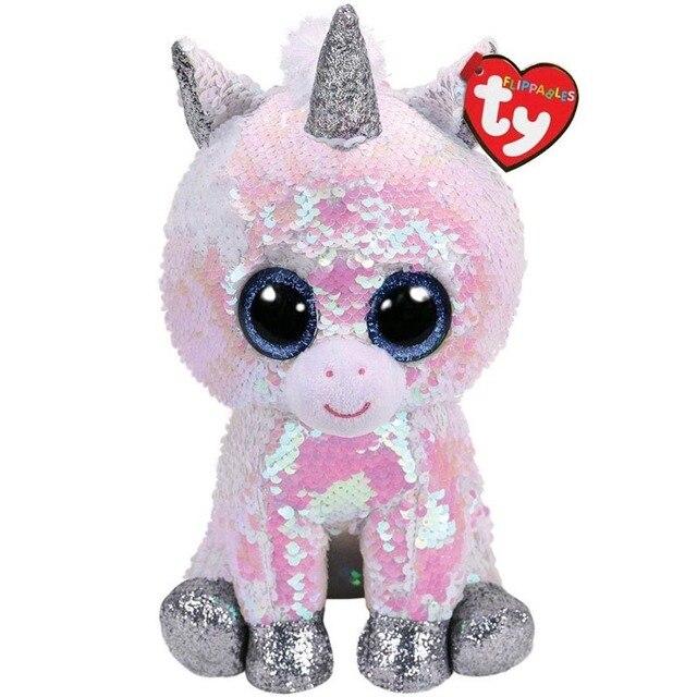 Ty Vaias Gorro Diamante Lantejoulas Unicórnio Animal De Pelúcia Grande-eyed Stuffed Toy Boneca Coleção 15 cm